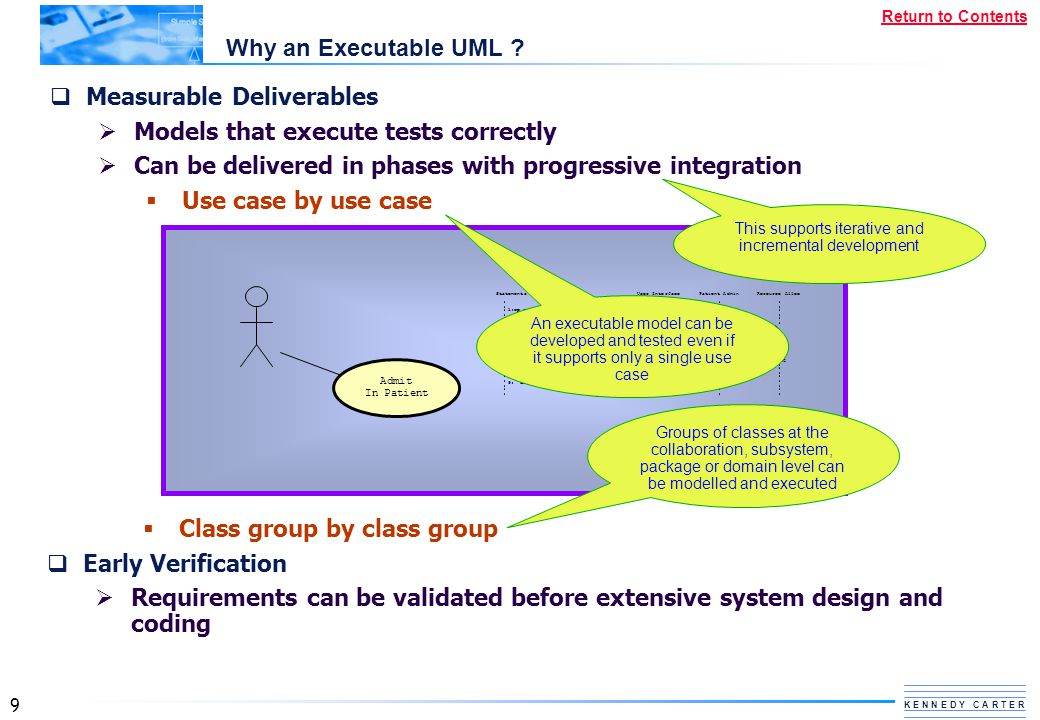 9 K E N N E D Y C A R T E R Return to Contents Why an Executable UML ?  Measurable Deliverables  Models that execute tests correctly  Can be delive