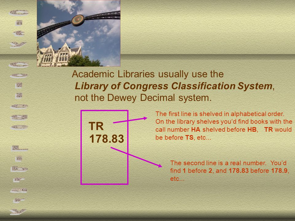 Academic Libraries usually use the Library of Congress Classification System, not the Dewey Decimal system.