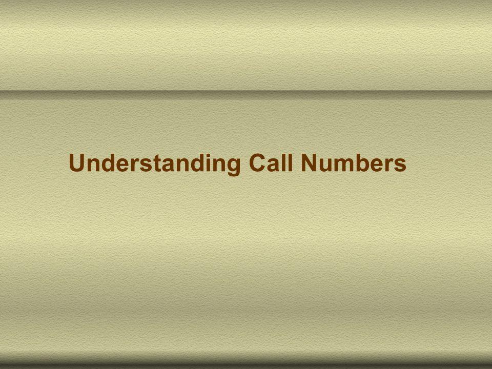 Understanding Call Numbers