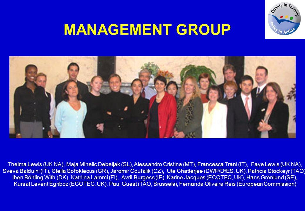 Thelma Lewis (UK NA), Maja Mihelic Debeljak (SL), Alessandro Cristina (MT), Francesca Trani (IT), Faye Lewis (UK NA), Sveva Balduini (IT), Stella Sofokleous (GR), Jaromir Coufalik (CZ), Ute Chatterjee (DWP/DfES, UK), Patricia Stockeyr (TAO), Iben Böhling With (DK), Katriina Lammi (FI), Avril Burgess (IE), Karine Jacques (ECOTEC, UK), Hans Grönlund (SE), Kursat Levent Egriboz (ECOTEC, UK), Paul Guest (TAO, Brussels), Fernanda Oliveira Reis (European Commission) MANAGEMENT GROUP