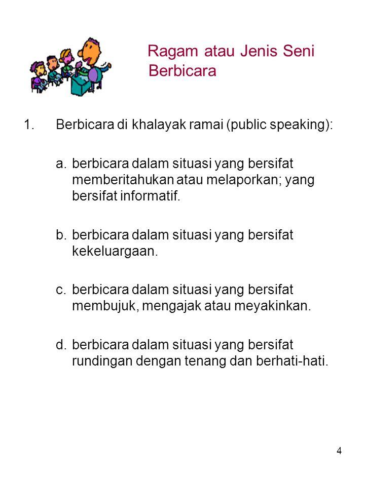 4 Ragam atau Jenis Seni Berbicara 1.Berbicara di khalayak ramai (public speaking): a.berbicara dalam situasi yang bersifat memberitahukan atau melaporkan; yang bersifat informatif.