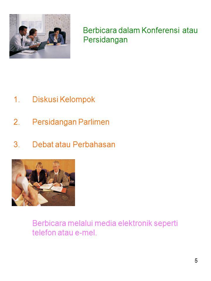 5 Berbicara dalam Konferensi atau Persidangan 1.Diskusi Kelompok 2.Persidangan Parlimen 3.Debat atau Perbahasan Berbicara melalui media elektronik seperti telefon atau e-mel.