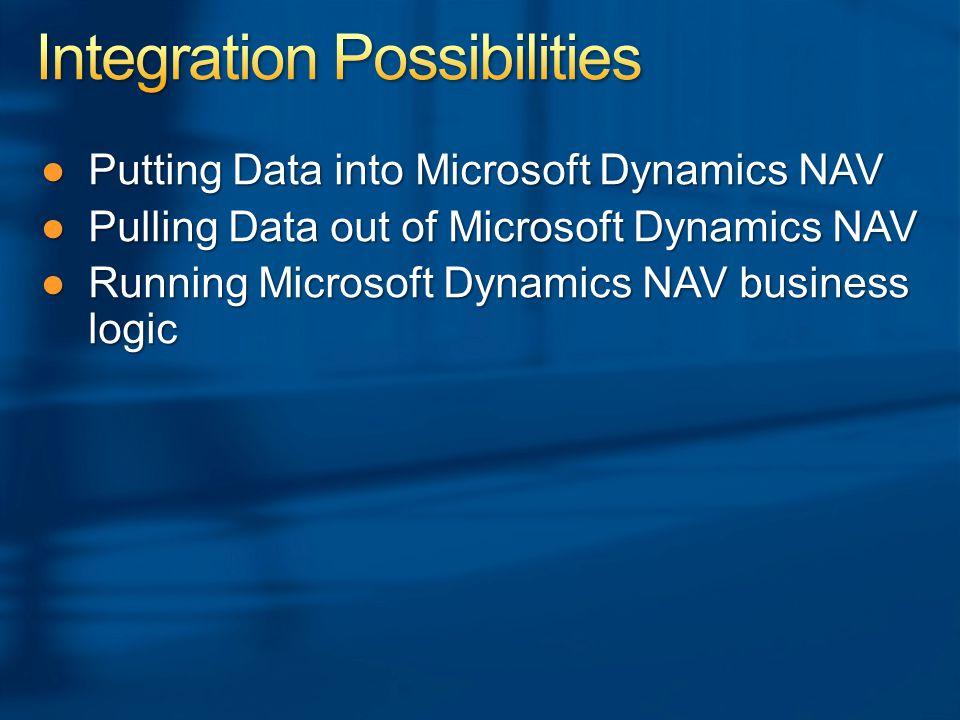 ●Putting Data into Microsoft Dynamics NAV ●Pulling Data out of Microsoft Dynamics NAV ●Running Microsoft Dynamics NAV business logic