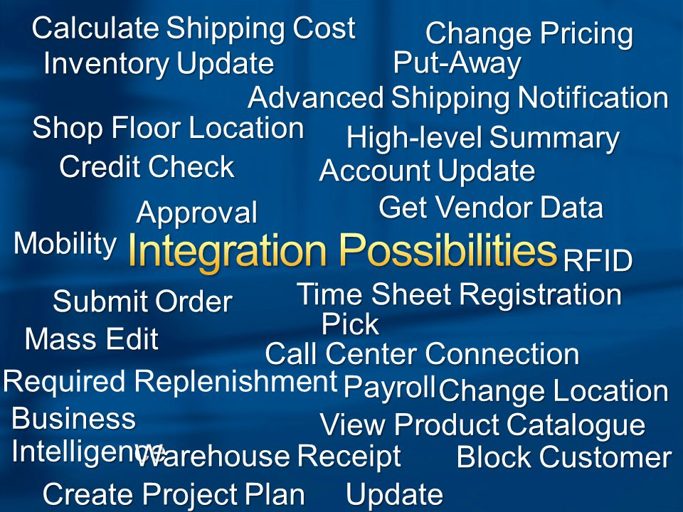 Inventory Update View Product Catalogue Submit Order High-level Summary Credit Check Call Center Connection Shop Floor Location Advanced Shipping Notification Required Replenishment Time Sheet Registration Business Intelligence Get Vendor Data Update Currencies Change Location Mobility RFID Create Project Plan Change Pricing Block Customer Calculate Shipping Cost Warehouse Receipt Approval Pick Put-Away Payroll Mass Edit Account Update