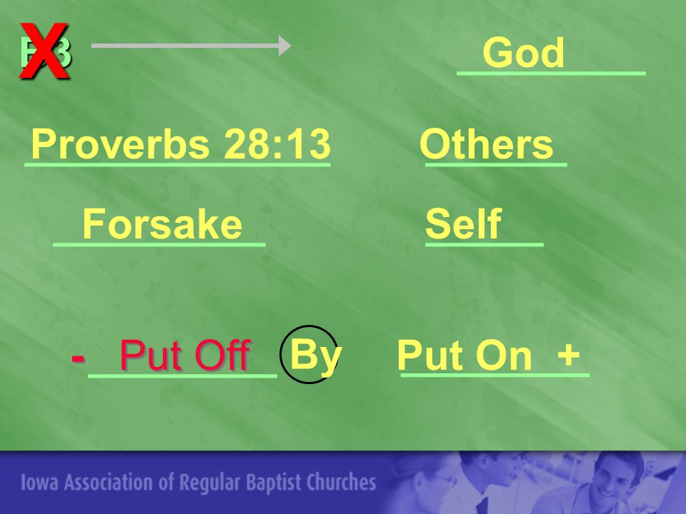_____ B3 B3 ________God Others Self Proverbs 28:13 Forsake Put On + _____________ _________ ________ ______ By ________X - Put Off