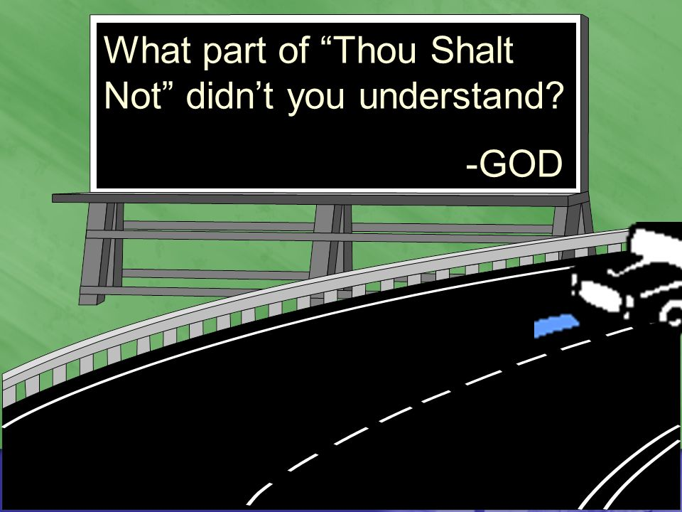 What part of Thou Shalt Not didn't you understand -GOD