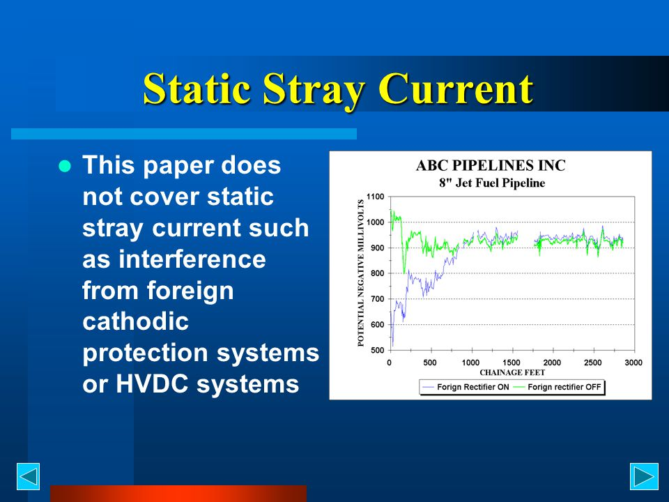 Static Stray Current This paper does not cover static stray current such as interference from foreign cathodic protection systems or HVDC systems