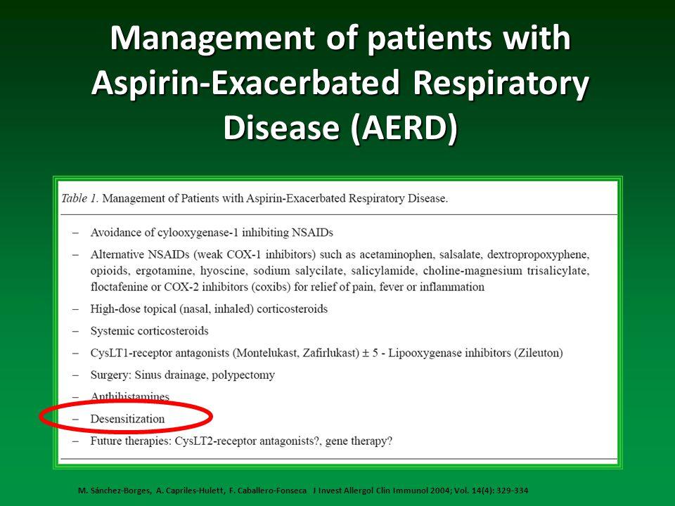 M. Sánchez-Borges, A. Capriles-Hulett, F. Caballero-Fonseca J Invest Allergol Clin Immunol 2004; Vol. 14(4): 329-334 Management of patients with Aspir