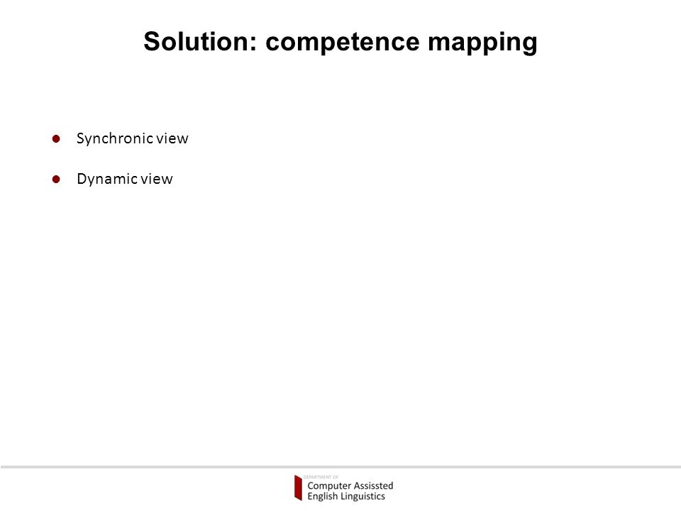 Structured syllabus No access to the structure of competence Problem