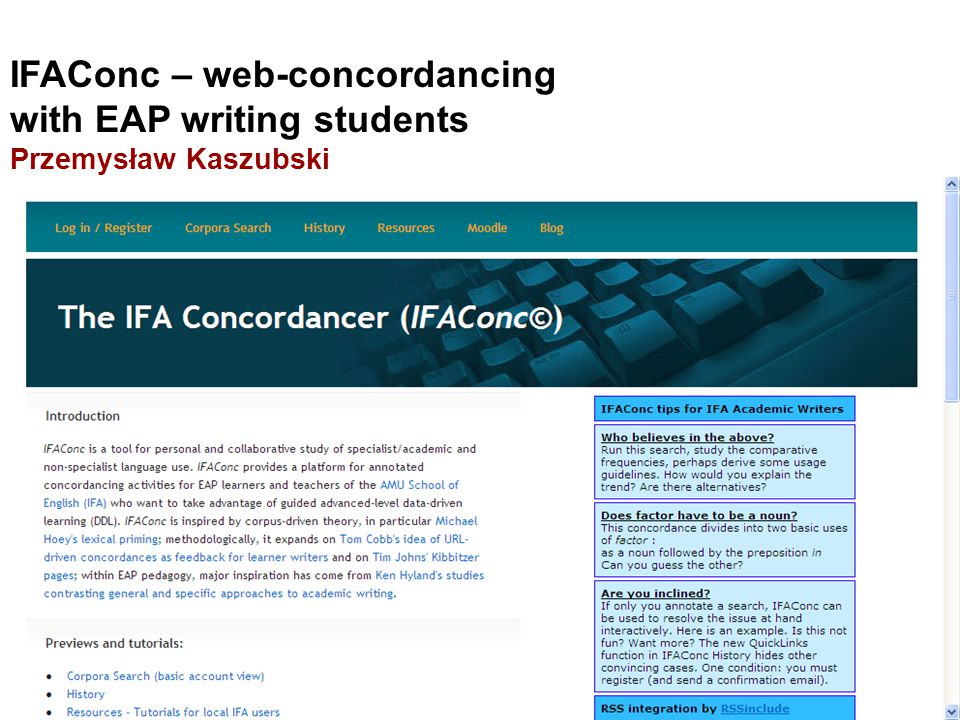 PK: IFAConc - web-concordancing with EAP writing studentsIFAConc - web-concordancing with EAP writing students JJW: e-text annotation - why bother e-text annotation - why bother.