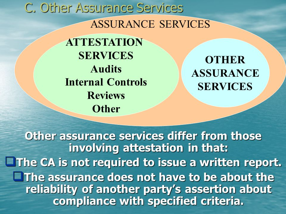 B4. Other Attestation Services Other attestation services are natural extensions of financial statement engagements: Debtor compliance with loan agree