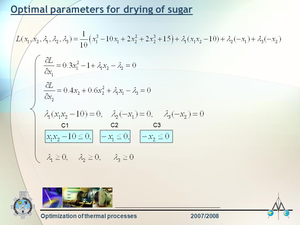 Optimization of thermal processes2007/2008 Optimal parameters for drying of sugar C1 C2C3