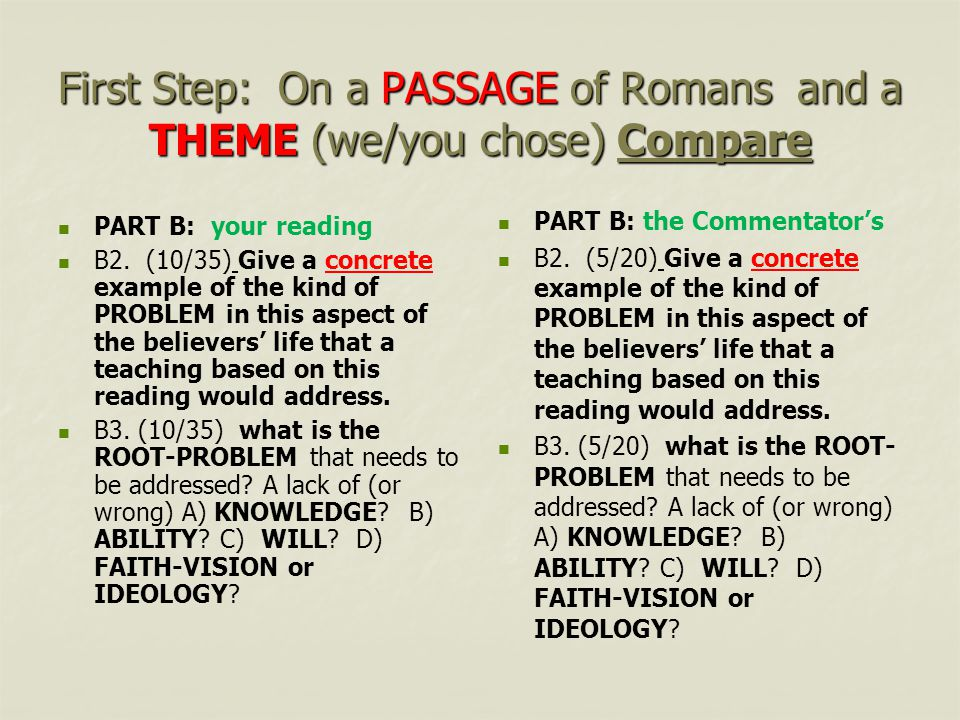 First Step: On a PASSAGE of Romans and a THEME (we/you chose) Compare PART B: your reading B2.