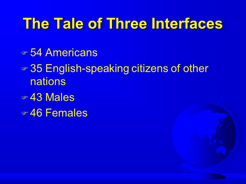 The Tale of Three Interfaces F 54 Americans F 35 English-speaking citizens of other nations F 43 Males F 46 Females