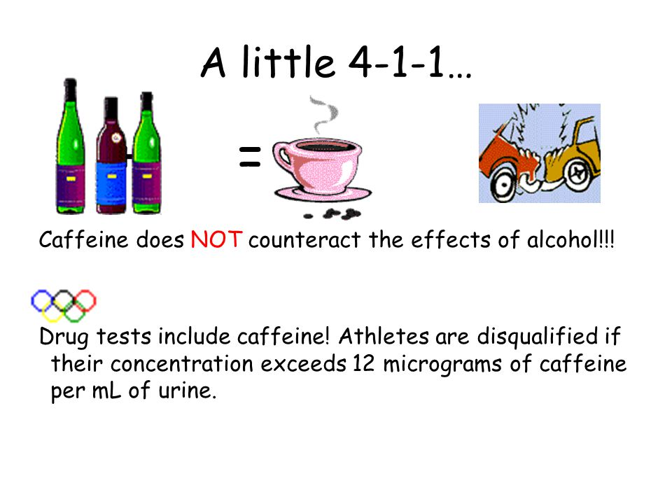 A little 4-1-1… + = Caffeine does NOT counteract the effects of alcohol!!.