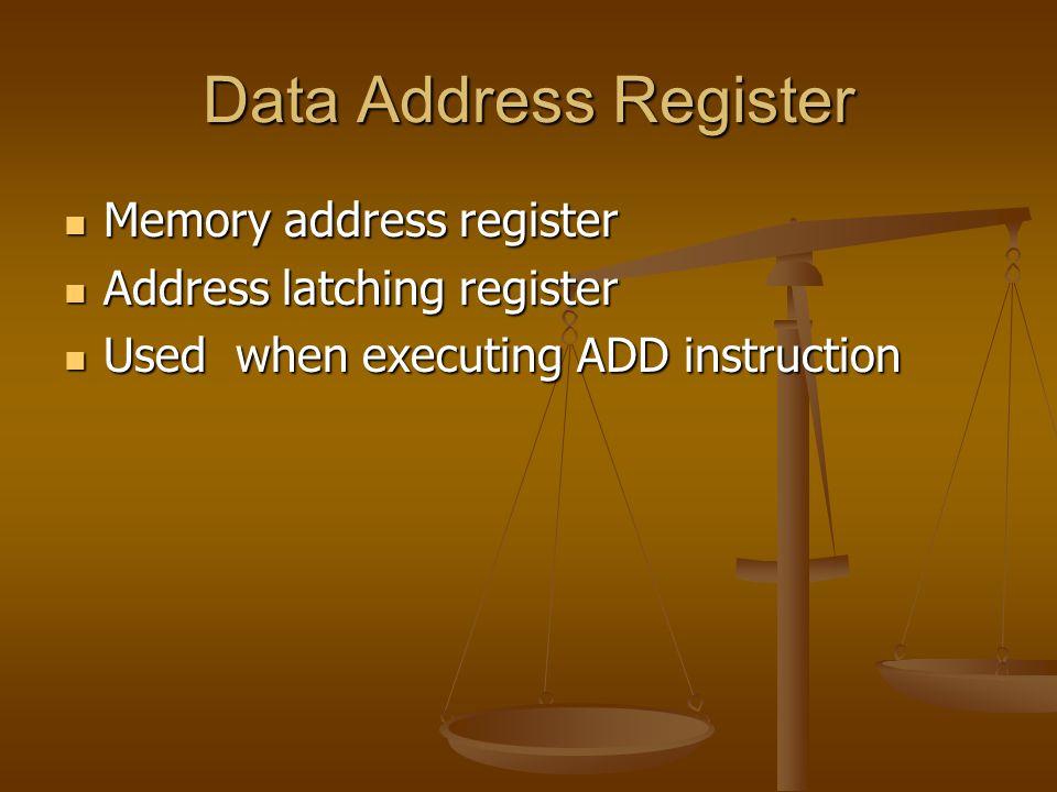 Data Address Register Memory address register Memory address register Address latching register Address latching register Used when executing ADD instruction Used when executing ADD instruction