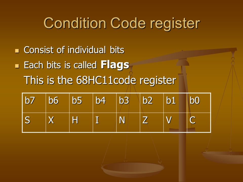Condition Code register Consist of individual bits Consist of individual bits Each bits is called Flags Each bits is called Flags This is the 68HC11code register b7b6b5b4b3b2b1b0 SXHINZVC