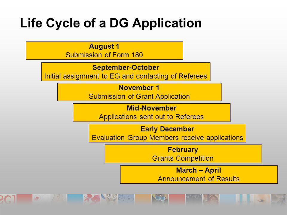 Life Cycle of a DG Application August 1 Submission of Form 180 September-October Initial assignment to EG and contacting of Referees November 1 Submission of Grant Application Mid-November Applications sent out to Referees Early December Evaluation Group Members receive applications February Grants Competition March – April Announcement of Results