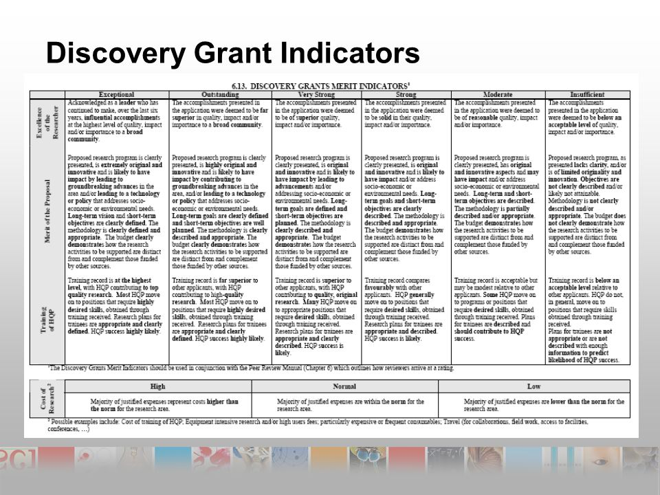 Discovery Grant Indicators