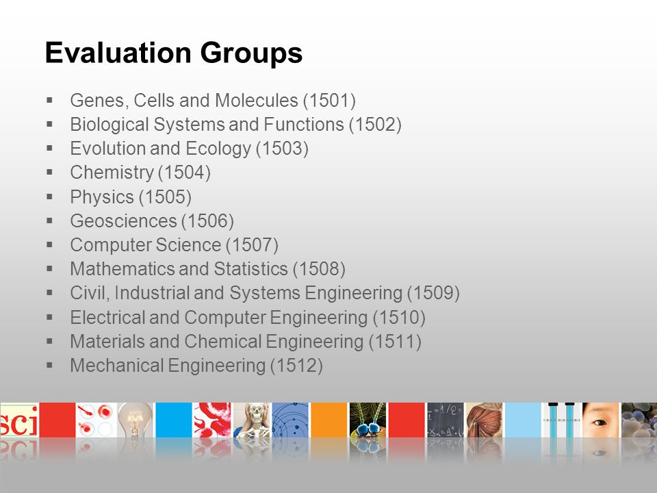Evaluation Groups  Genes, Cells and Molecules (1501)  Biological Systems and Functions (1502)  Evolution and Ecology (1503)  Chemistry (1504)  Physics (1505)  Geosciences (1506)  Computer Science (1507)  Mathematics and Statistics (1508)  Civil, Industrial and Systems Engineering (1509)  Electrical and Computer Engineering (1510)  Materials and Chemical Engineering (1511)  Mechanical Engineering (1512)