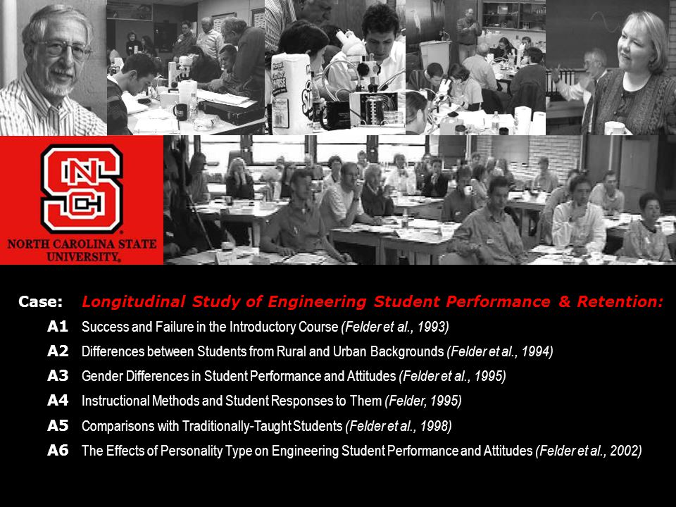 Case:Longitudinal Study of Engineering Student Performance & Retention: A1 Success and Failure in the Introductory Course (Felder et al., 1993) A2 Differences between Students from Rural and Urban Backgrounds (Felder et al., 1994) A3 Gender Differences in Student Performance and Attitudes (Felder et al., 1995) A4 Instructional Methods and Student Responses to Them (Felder, 1995) A5 Comparisons with Traditionally-Taught Students (Felder et al., 1998) A6 The Effects of Personality Type on Engineering Student Performance and Attitudes (Felder et al., 2002)