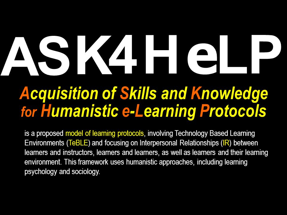 Acquisition of Skills and Knowledge for Humanistic e-Learning Protocols S A 4 K e H PL is a proposed model of learning protocols, involving Technology Based Learning Environments (TeBLE) and focusing on Interpersonal Relationships (IR) between learners and instructors, learners and learners, as well as learners and their learning environment.