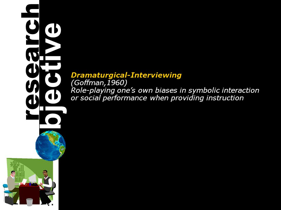 Dramaturgical-Interviewing (Goffman,1960) Role-playing one's own biases in symbolic interaction or social performance when providing instruction bjective research