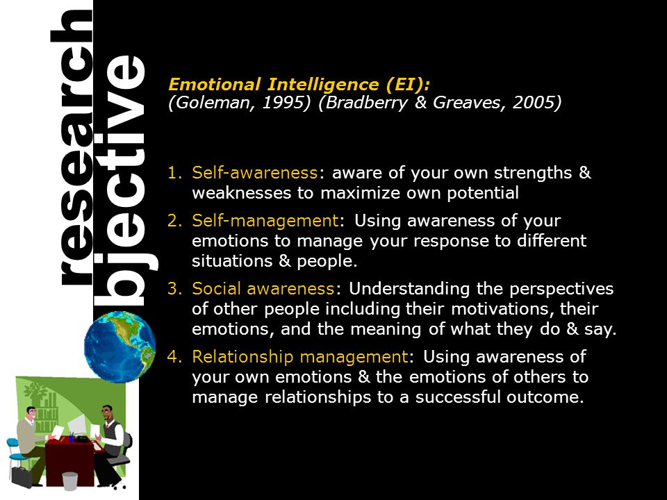 Emotional Intelligence (EI): (Goleman, 1995) (Bradberry & Greaves, 2005) 1.Self-awareness: aware of your own strengths & weaknesses to maximize own potential 2.Self-management: Using awareness of your emotions to manage your response to different situations & people.