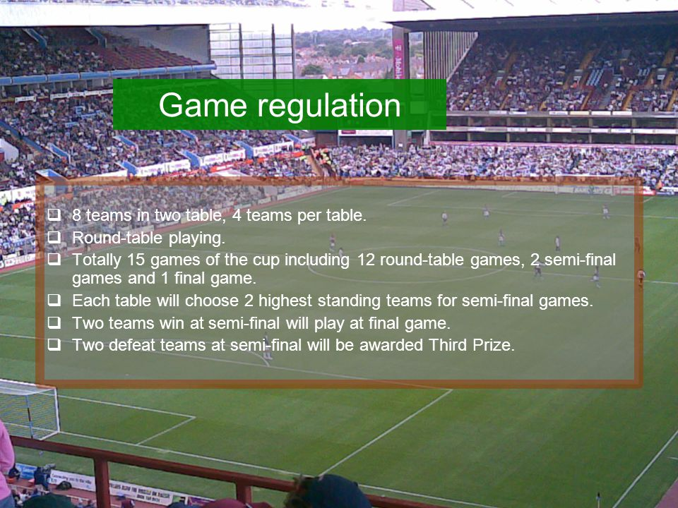 Game regulation  8 teams in two table, 4 teams per table.