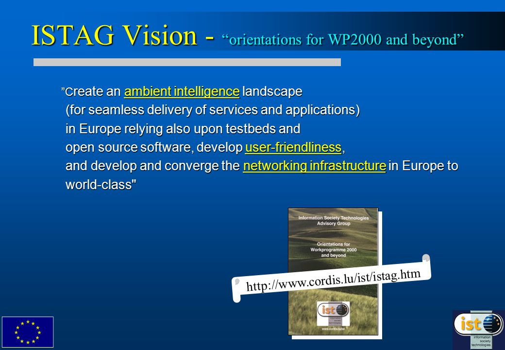 ISTAG Vision - orientations for WP2000 and beyond C reate an ambient intelligence landscape (for seamless delivery of services and applications) in Europe relying also upon testbeds and open source software, develop user-friendliness, and develop and converge the networking infrastructure in Europe to world-class C reate an ambient intelligence landscape (for seamless delivery of services and applications) in Europe relying also upon testbeds and open source software, develop user-friendliness, and develop and converge the networking infrastructure in Europe to world-class http://www.cordis.lu/ist/istag.htm