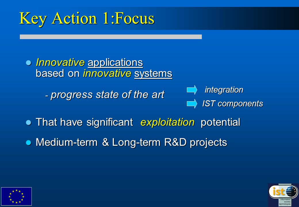 Innovative applications based on innovative systems Innovative applications based on innovative systems That have significant exploitation potential That have significant exploitation potential Medium-term & Long-term R&D projects Medium-term & Long-term R&D projects Key Action 1:Focus - progress state of the art integration IST components