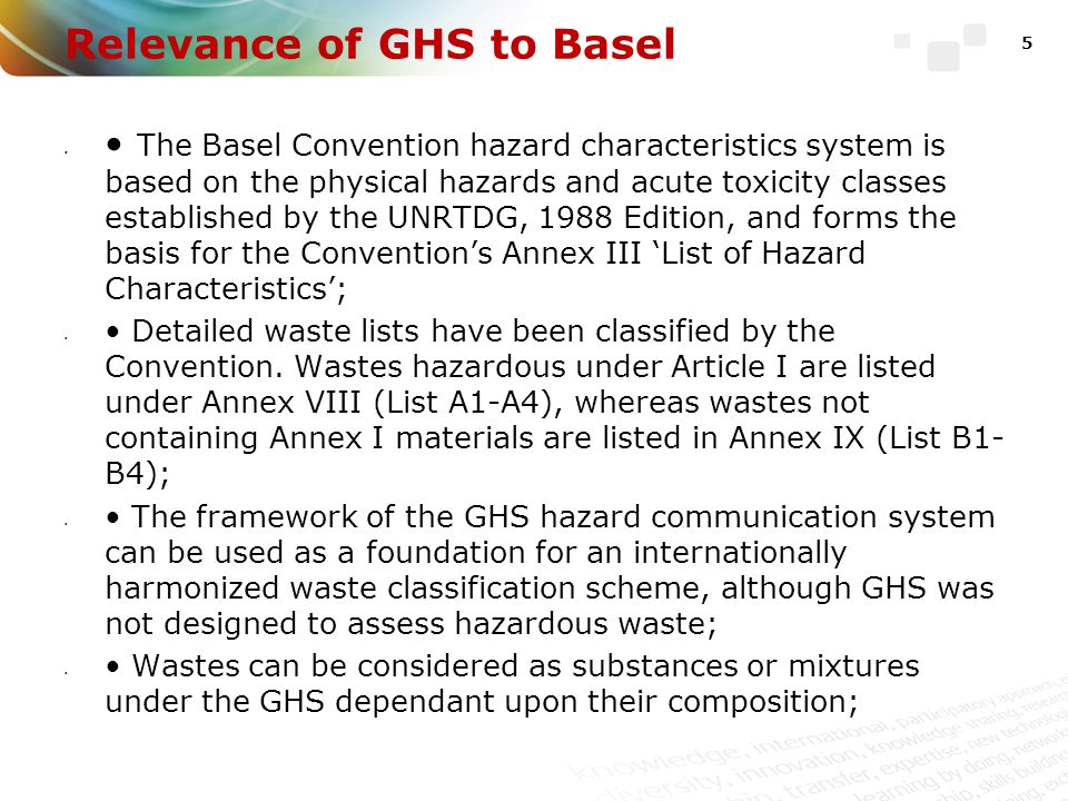Relevance of GHS to Basel The GHS hazard classes include: 16 physical and 10 health hazards and 2 environmental hazards.
