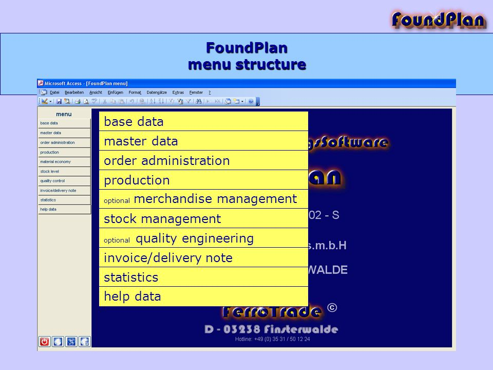 FoundPlan base data master data order administration production optional merchandise management stock management optional quality engineering invoice/delivery note statistics help data menu structure