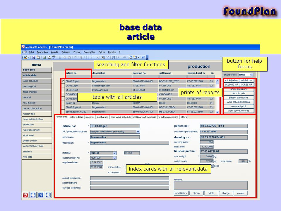 base data searching and filter functions index cards with all relevant data button for help forms prints of reports table with all articles article