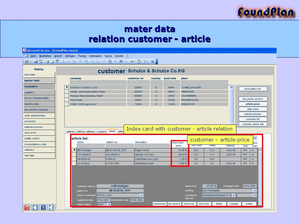 mater data Index card with customer - article relation customer – article price relation customer - article
