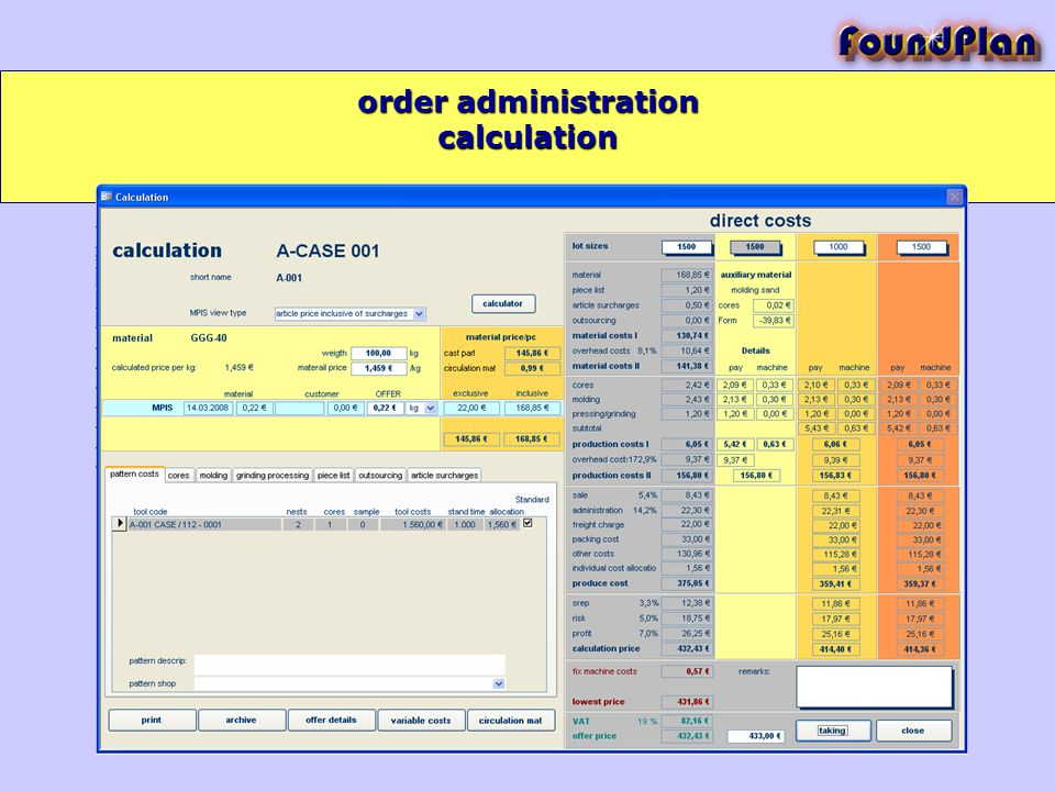calculation order administration