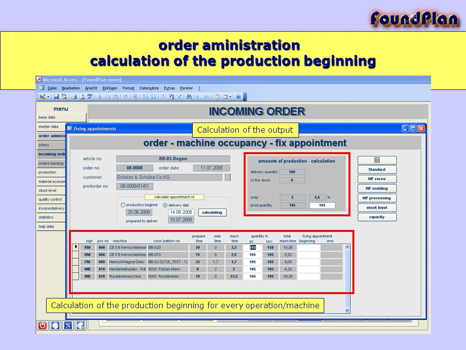 order aministration Calculation of the output Calculation of the production beginning for every operation/machine calculation of the production beginning