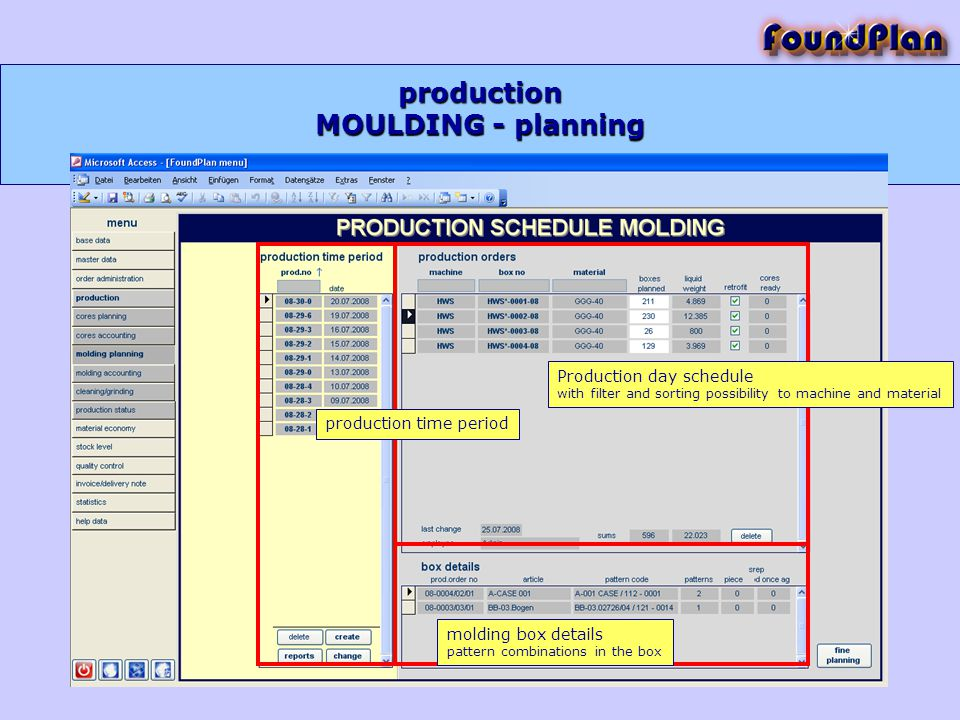production Production day schedule with filter and sorting possibility to machine and material production time period molding box details pattern combinations in the box MOULDING - planning