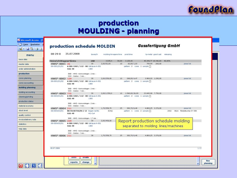production MOULDING - planning Report production schedule molding separated to molding lines/machines
