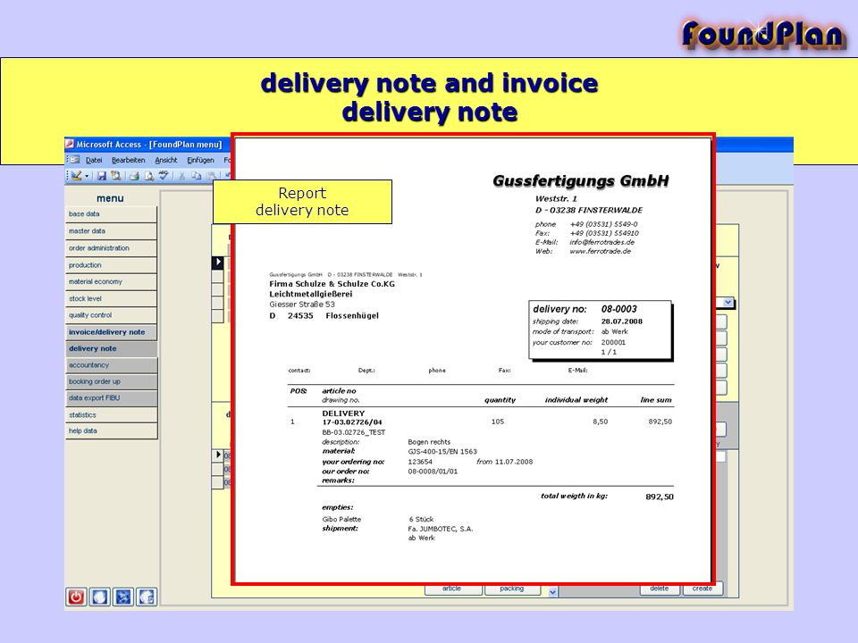 delivery note and invoice delivery note Report delivery note