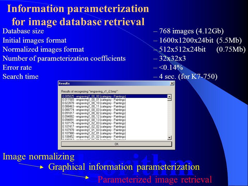 Information parameterization for image database retrieval Algorithm Image normalizing Graphical information parameterization Parameterized image retrieval =+ HF componentLF component Normalized image Recovered image with the recovered image plane