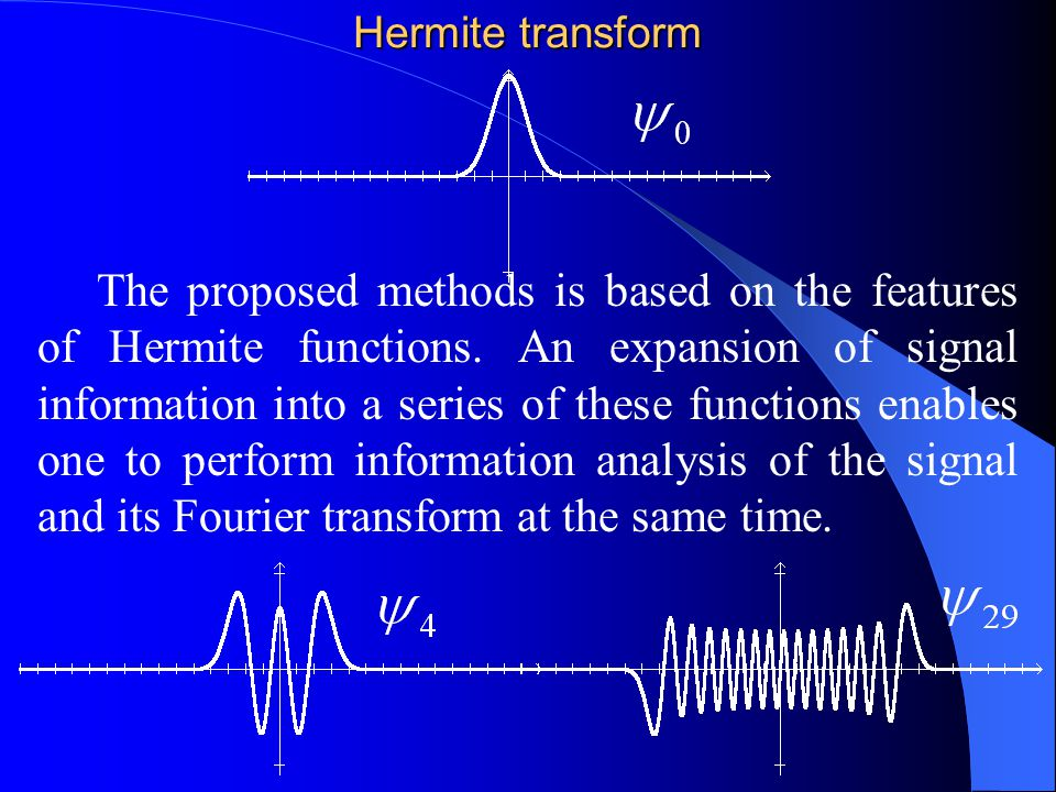 Outline: Projection Method (Hermite series approach)Projection Method (Hermite series approach) ApplicationsApplications 1.