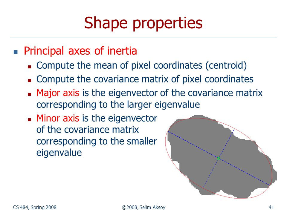 CS 484, Spring 2008©2008, Selim Aksoy41 Shape properties Principal axes of inertia Compute the mean of pixel coordinates (centroid) Compute the covari