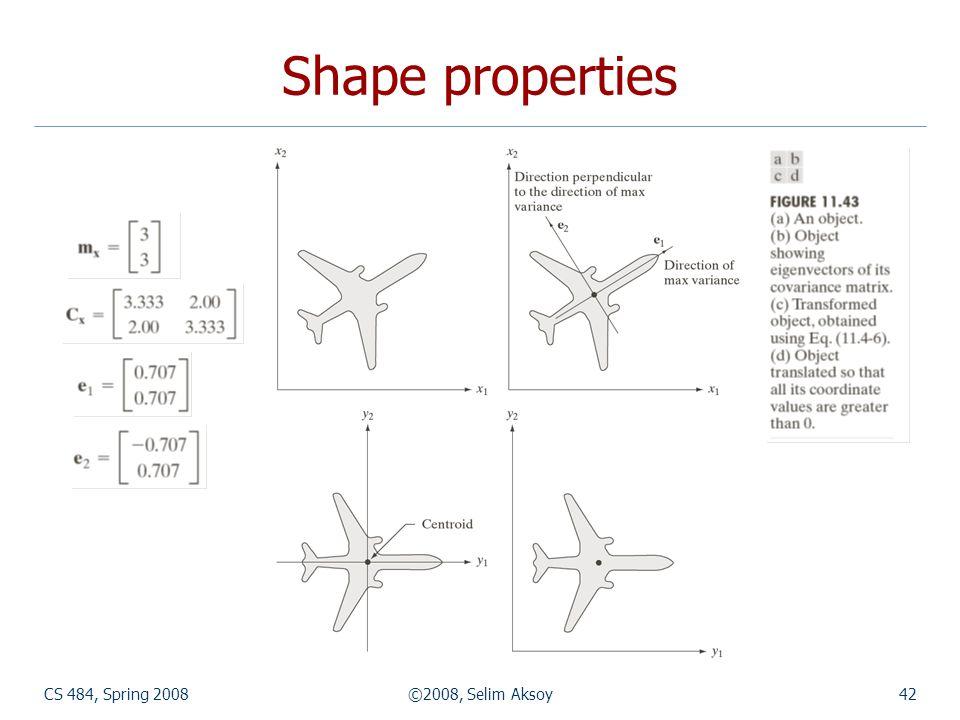 CS 484, Spring 2008©2008, Selim Aksoy42 Shape properties
