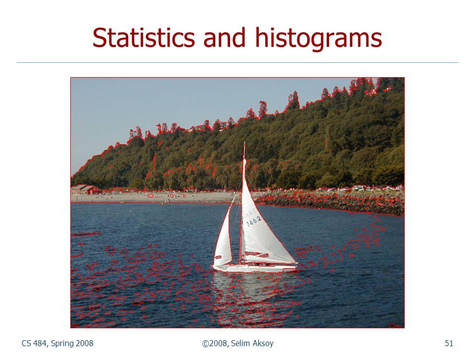 CS 484, Spring 2008©2008, Selim Aksoy51 Statistics and histograms