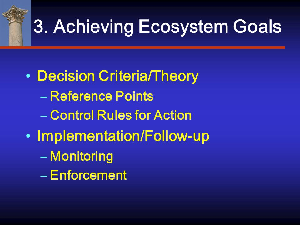 3. Achieving Ecosystem Goals Decision Criteria/Theory –Reference Points –Control Rules for Action Implementation/Follow-up –Monitoring –Enforcement