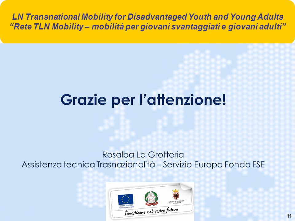 11 LN Transnational Mobility for Disadvantaged Youth and Young Adults Rete TLN Mobility – mobilità per giovani svantaggiati e giovani adulti
