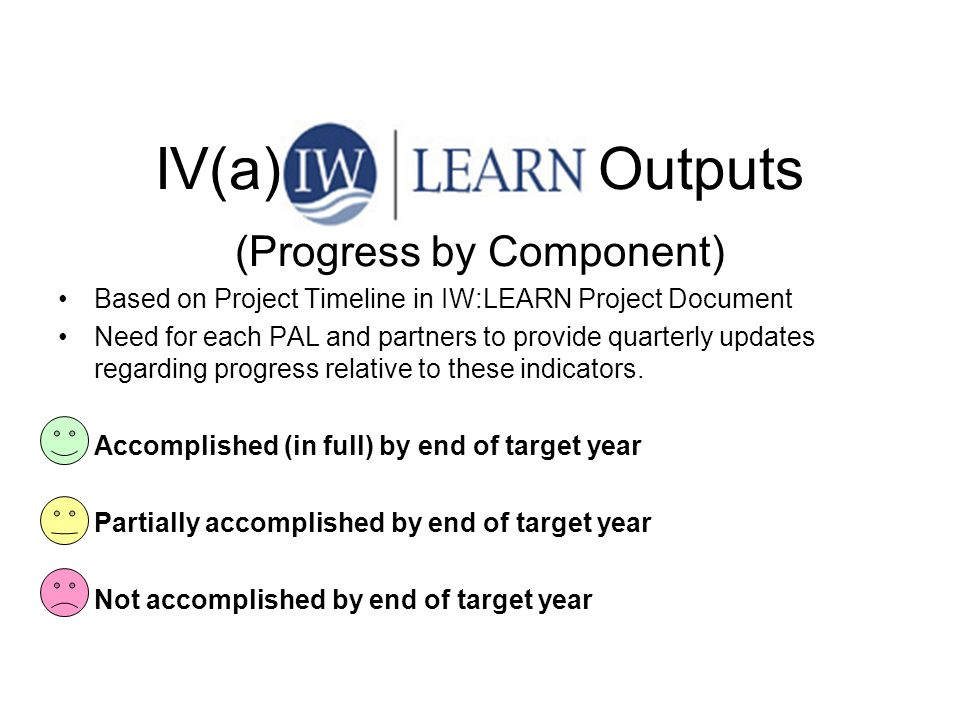 IV(a) IW:LEARN Outputs (Progress by Component) Based on Project Timeline in IW:LEARN Project Document Need for each PAL and partners to provide quarte
