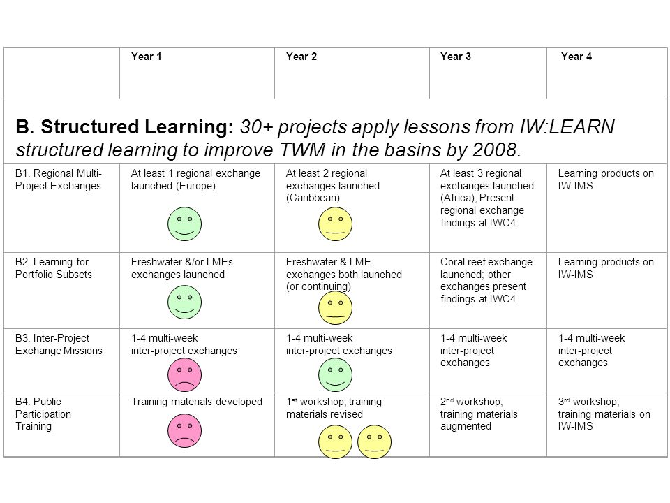 Year 1Year 2Year 3 Year 4 B. Structured Learning: 30+ projects apply lessons from IW:LEARN structured learning to improve TWM in the basins by 2008. B