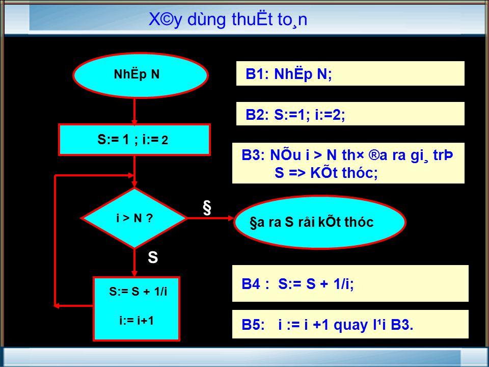 § S NhËp N S:= 1 ; i:= 2 i > N .